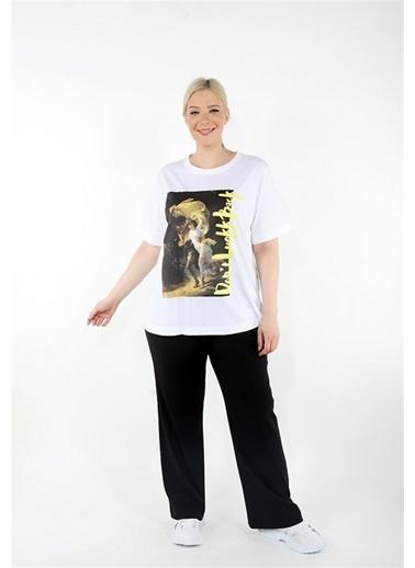 Luokk Romeo Düşük Omuzlu Önü Baskılı Kadın T-Shirt Beyaz Beyaz